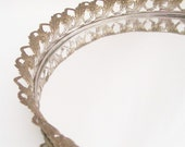 RESERVED FOR ELBOWJO vintage vanity tray mirror . round with gold filagree flowers