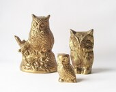 vintage brass owl paperweights . autumn fall harvest decor . spooky scary halloween trick or treat