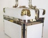 case vintage white ostrich leather with silver & brass hardware train case style purse modern urban fashion