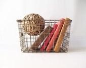 vintage gym locker basket metal wire industrial storage bin number 83 chic urban modern retro home decor