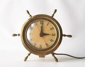 vintage brass mantle clock nautical ship wheel stylish modern urban retro home decor