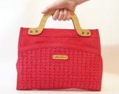vintage gloria astor purse red handbag natural wood handles basket weave detail stylish retro designer fashion for summer or fall