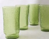 vintage square tumbler bamboo grass wood grain glassware glasses green glass textured home decor housewares kitchen serving entertaining