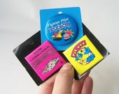vintage pins pinback badge 1980's video game buttons . pac man, pilot fighter zaxxon, tank commander battlezone