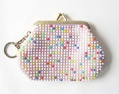 vintage coinpurse change purse keychain beaded dots white rainbow retro mod fashion old school style women teens girls kiss lock small