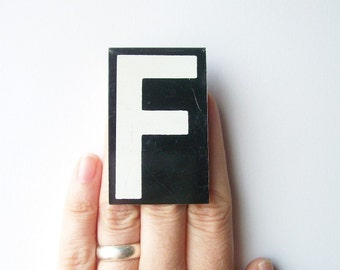 vintage letter F enamel metal sign hanging black and white personalized monogram modern text type font medium