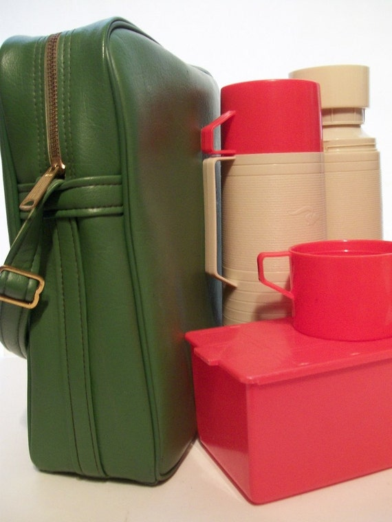 Super Funky Apple Green Sachtel To Go Tote Bag with 2 Thermos and a Food Carrier for Travel