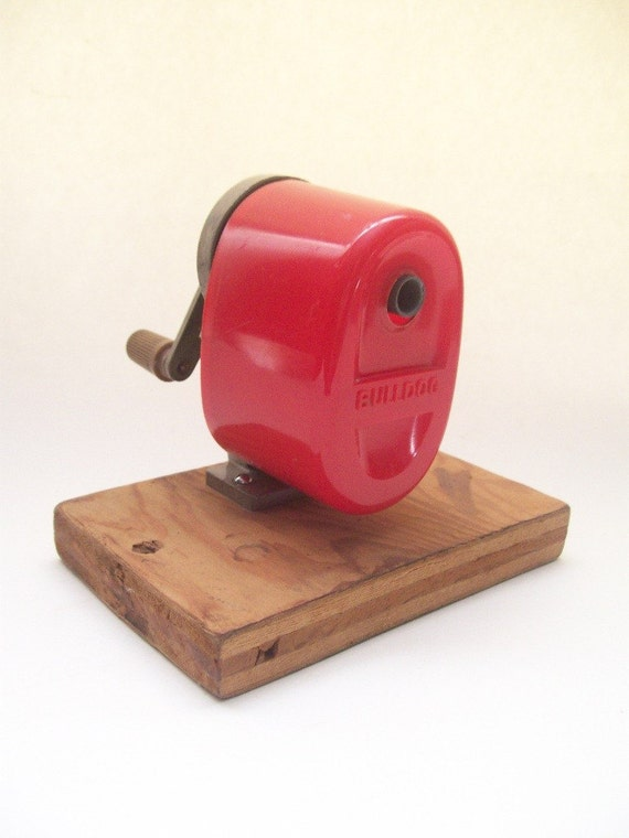 Old School Bright Red Boston Bulldog Pencil Sharpener - Surface Mounted with Hand Crank