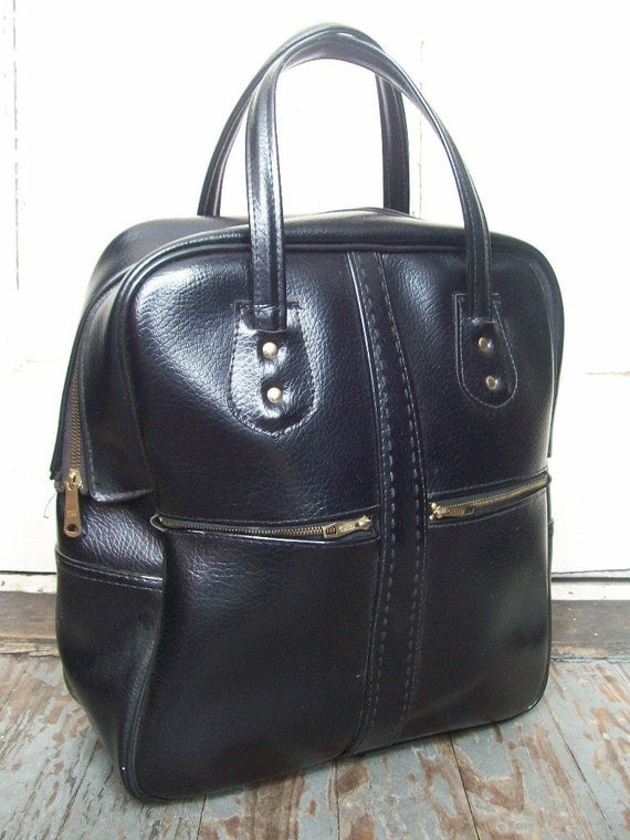 Steampunk Chic . Stiching and Zipper Details . Black Sachtel . Tote Bag Carry-On Purse