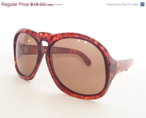 vintage sunglasses large oversized mod tortoise shell rusty brown