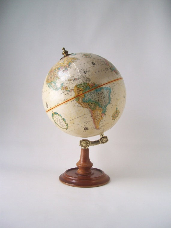 vintage replogle world globe leroy tolman cartographer