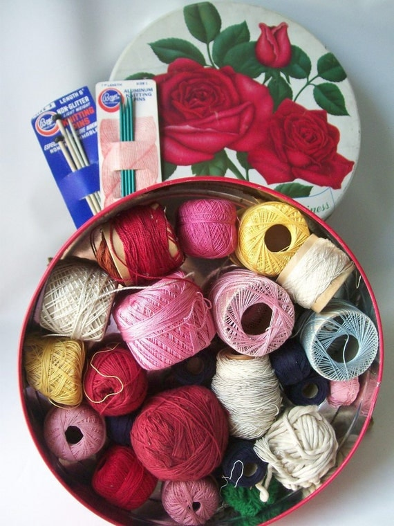 vintage sewing tin storage crochet thread & knitting needles red roses flowered retro home decor cottage chic