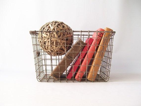 Vintage Gym Locker Basket Metal Wire Industrial Storage Bin