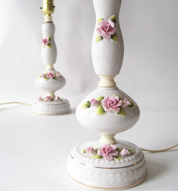 Vintage Table Lamps Pair White Porcelain Pink Rose Shabby Chic