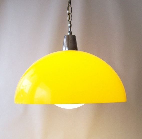 Vintage Swag Hanging Light Lamp Lighting Bright Yellow Dome