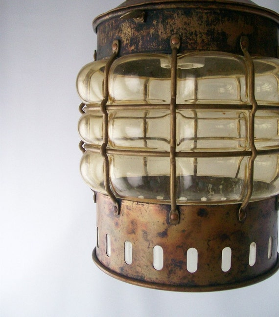 RESERVED FOR LAURIE vintage maritime hanging lantern cage light lighting patina copper lamp nautical fishing fisherman lighthouse rustic