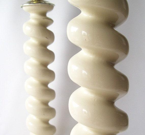 vintage lamps retro pair table lights spiral wood mid century modern hollywood regency chic home decor cream vanilla white