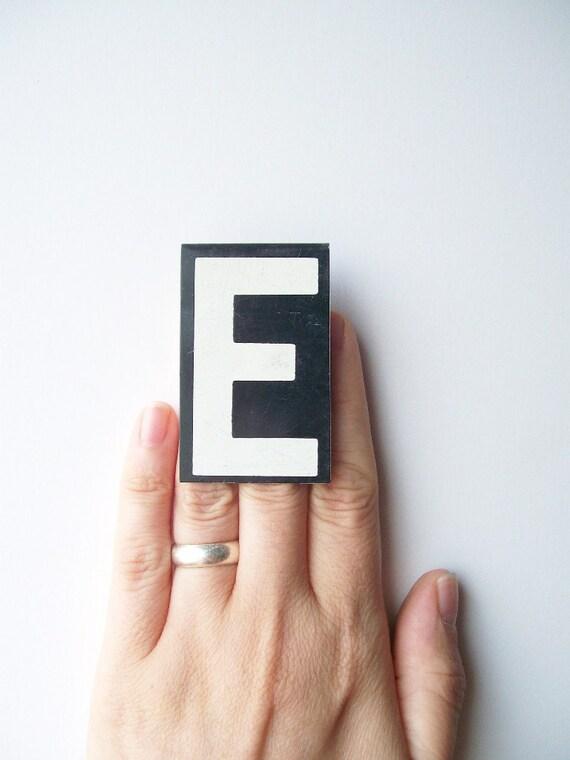 vintage letter E enamel sign metal hanging black & white text type font