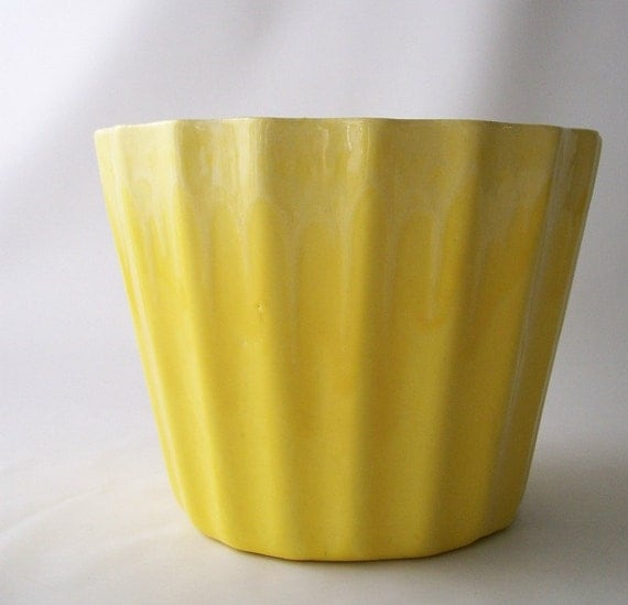 Vintage Ombre Yellow Planter Flower Pot Drip By