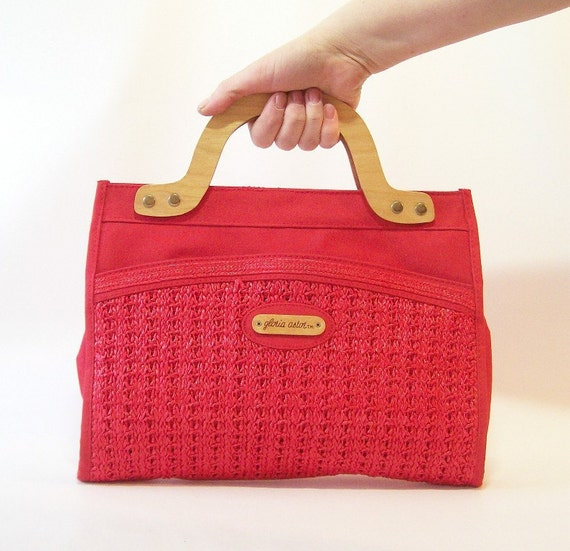 vintage gloria astor purse red handbag natural wood handles basket weave detail stylish retro designer fashion for summer or fall