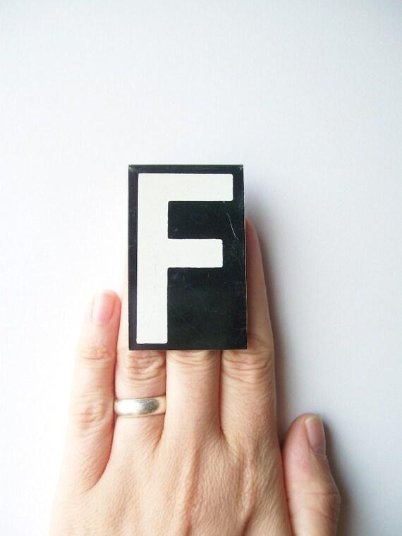 vintage letter F enamel metal sign hanging black and white personalized monogram modern text type font medium