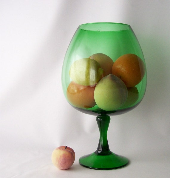 vintage green glass brandy snifter fishbowl oversized big large huge retro mid century modern home decor style