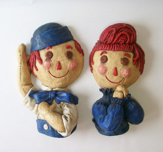 Vintage Raggedy Ann Amp Andy Chalkware Wall By Recyclebuyvintage