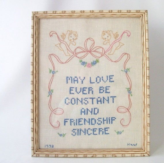 vintage retro art inspirational embroidered artwork framed picture linen wall hanging quote love friendship home decor shabby cottage