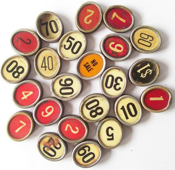 vintage salvaged antique cash register keys lot buttons upcycling repurposing supplies red white orange black patina rusty dirty old numbers
