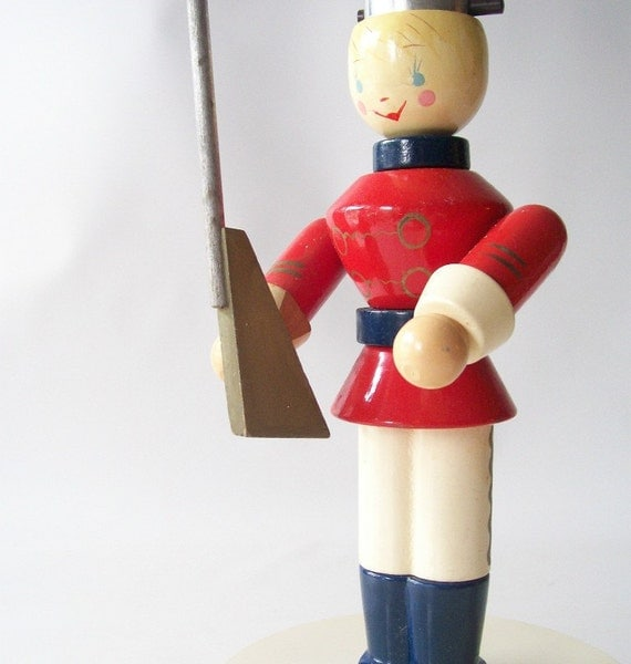 vintage lamp toy soldier retro lighting wood figurine light home decor boys room childs red blue white