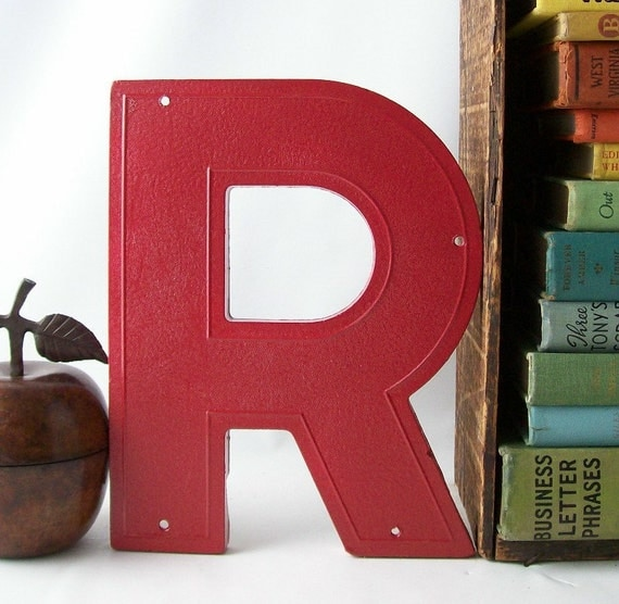 salvaged upcycled vintage marquee sign letter R business signage industrial modern wall hanging home decor red cherry strawberry initial