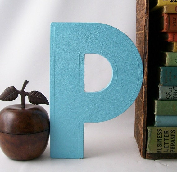 salvaged upcycled vintage marquee sign letter P business signage industrial modern wall hanging home decor aqua ocean blue initial