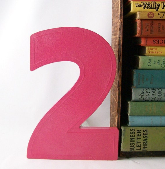 pink number 2 two marquee sign vintage salvaged upcycled business signage industrial modern wall hanging home decor pink personalized
