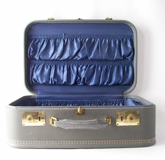 vintage suitcase gray luggage case royal blue satin lining modern chic glam haute couture beautiful fashion men or women