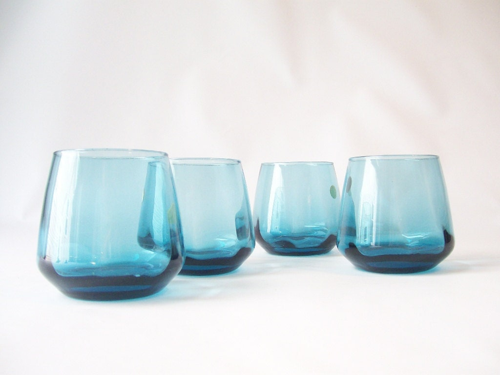 glassware vintage glasses roly poly blue glass octagon shaped