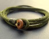 Mens olive green triple wrap leather bracelet