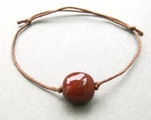 Mens semiprecious red agate beaded waxed cotton cord adjustable friendship bracelet