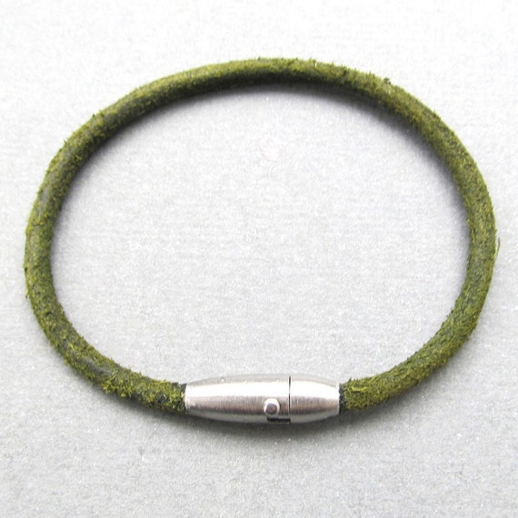 Mens thin olive green leather bracelet with stainless steel clasp