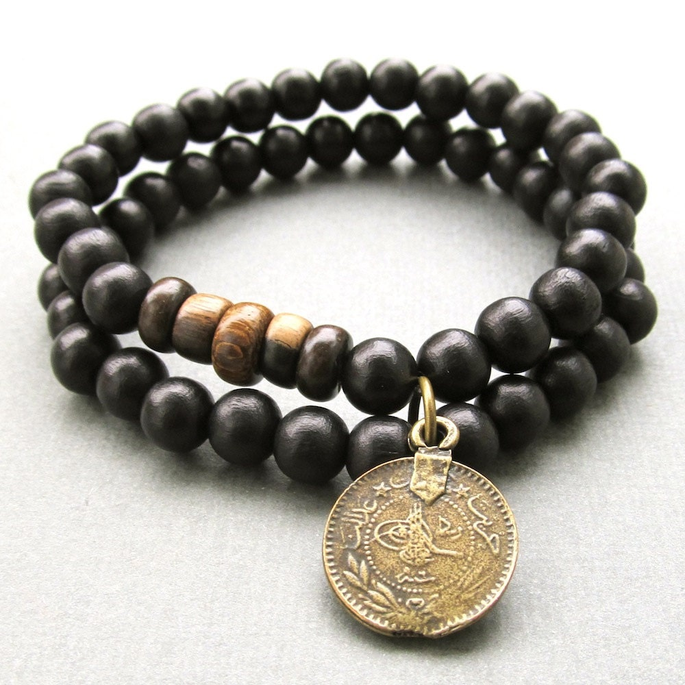 Mens double black wooden beaded stretch bracelets with antique
