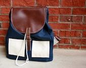 Navy Blue Canvas Rucksack