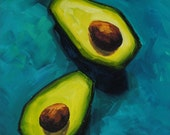 RESERVED - Cascading Avocados - Still Life Oil Painting - 6x12