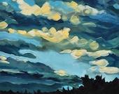Sunset Clouds - Original Oil Painting - 6x6