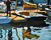 Santa Barbara Harbor XV - Original Oil Painting - 6x6