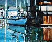 Santa Barbara Harbor XII - Original Oil Painting - 12x12
