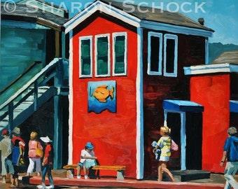Santa Barbara Oil Painting - 12x12 - Stearns Wharf Fish & Chips - California art by Sharon Schock