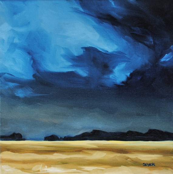 Storm in Blue and Gold - Landscape Oil Painting - 12x12