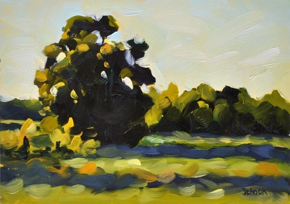 Sunset at the Bluffs - Plein Air Oil Painting - 5x7