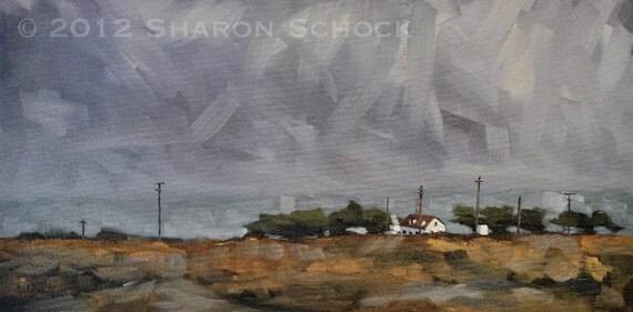 Large Original Painting, California Coastal Landscape  - From the Train I - 8x16