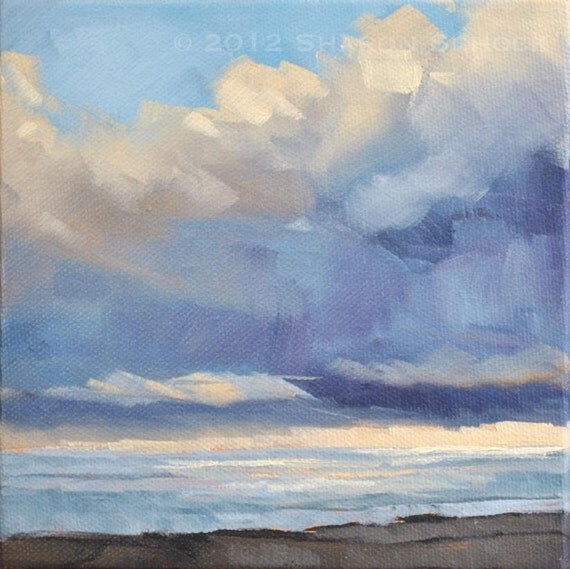 Cloud Painting - From the Train  VIII - 6x6 - Ready to hang
