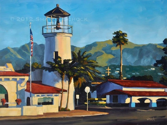 Santa Barbara Landscape Painting - Faux Lighthouse - 9x12 California oil painting by Sharon Schock
